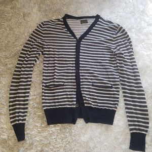 All Saints Stripped Button Down Cardigan